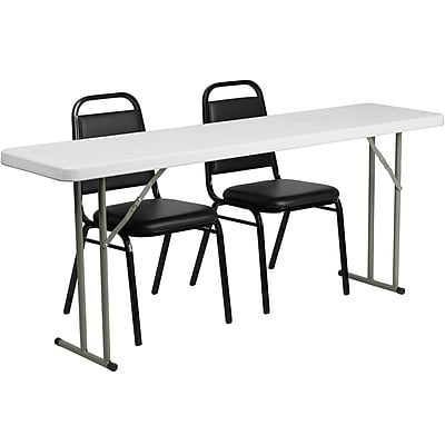 Flash Furniture RB18722 6' Plastic Folding Training Table Set, White