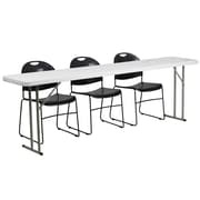 "Flash Furniture 96"" Folding Training Table with 3 Black Plastic Stack Chairs, Granite White (RB18961)"