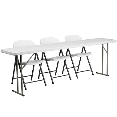 Flash Furniture – Table de formation pliante de 96 po avec 3 chaises pliables en plastique blanc, blanc granite (RB18962)