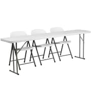 "Flash Furniture 96"" Folding Training Table with 3 White Plastic Folding Chairs, Granite White (RB18962)"