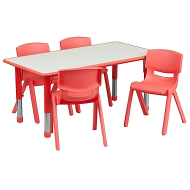 Flash Furniture – Table d'activités rectangulaire (23,63 x 47,25 po) en plastique, rouge (YU06034RECTBLRD)