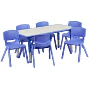 "Flash Furniture YU06036RECTBLBL 21"" x 37.75"" Plastic Rectangle Activity Table, Blue"