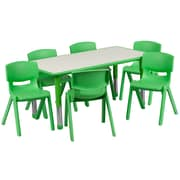 "Flash Furniture YU06036RECTBLGN 23.63"" x 47.25'' Plastic Rectangle Activity Table, Green"
