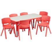 "Flash Furniture YU06036RECTBLRD 23.63"" x 47.25'' Plastic Rectangle Activity Table, Red"