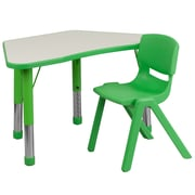"Flash Furniture YU09131TRPTBLGN 21"" x 37.75"" Plastic Trapezoid Activity Table Set, Green"