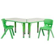"Flash Furniture YU09132TRPTBLGN 21"" x 37.75"" Plastic Trapezoid Activity Table Set, Green"
