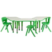 "Flash Furniture YU09133TRPTBLGN 21"" x 37.75"" Plastic Trapezoid Activity Table Set, Green"