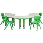 "Flash Furniture YU09134TRPTBLGN 21"" x 37.75"" Plastic Trapezoid Activity Table Set, Green"