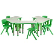"Flash Furniture YU09135TRPTBLGN 21"" x 37.75"" Plastic Trapezoid Activity Table Set, Green"