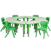 "Flash Furniture YU09136TRPTBLGN 21"" x 37.75"" Plastic Trapezoid Activity Table Set, Green"
