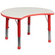 "Flash Furniture YU093CIRTBLRD 25.13"" x 35.5"" Plastic Semi-Circle Activity Table, Red"