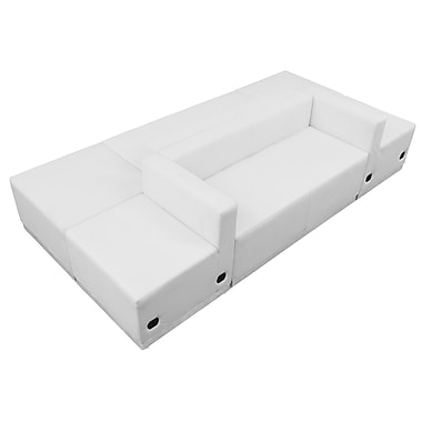 Flash Furniture – Mobilier de réception de série Alon ZB803500SWH en cuir souple, 6 articles, blanc