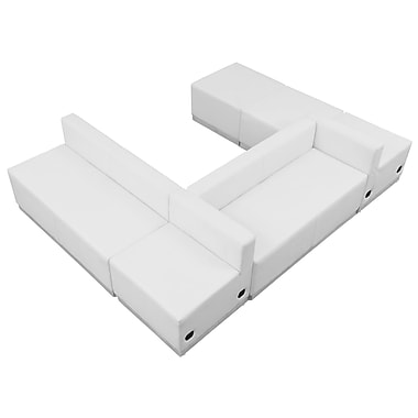 Flash Furniture Alon Series ZB803510SWH LeatherSoft Reception Set, 6 PC, White