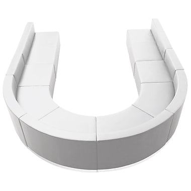 Flash Furniture Alon Series ZB803530SWH Leather Soft Reception Set, 8-Piece, White