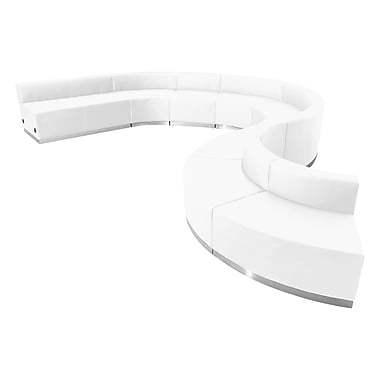 Flash Furniture Alon Series ZB803600SWH Leather Soft Reception Set, 9-Piece, White