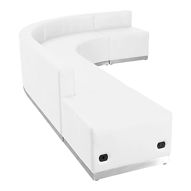 Flash Furniture – Alon Series ZB803610SWH, ensemble de réception 5 pièces, cuir, blanc