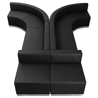 Flash Furniture Alon Series ZB803620SBK LeatherSoft Reception Set, 8 PC, Black