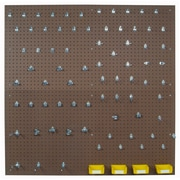 "Tempered Wood Pegboard TPB2-83 24"" x 48"" Pegboard 79 Hooks 4 Bins, Brown"
