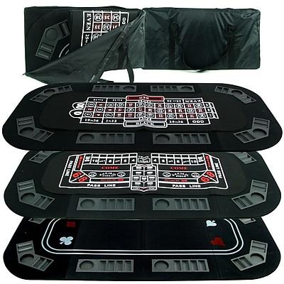 Trademark Superior 3 In 1 Poker/Craps/Roulette Tri-Fold Tabletop, Black