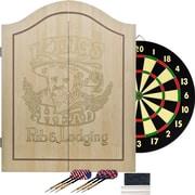 Trademark Light Wood Dartboard Cabinet Set, King's Head Value