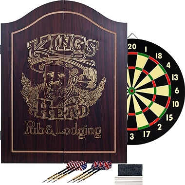 Trademark Dark Wood Dartboard Cabinet Set, King's Head Value