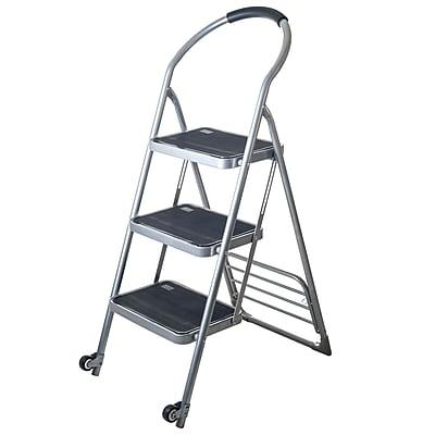 Stalwart™ Step Ladder Folding Cart Dolly, 250 lbs., Silver