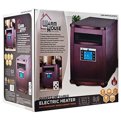 Trademark Warm House 80-5531 Digital Readout Portable Infrared Heater, Mahogany