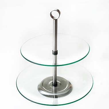 Two Tier Round Glass Buffet and Dessert Stand