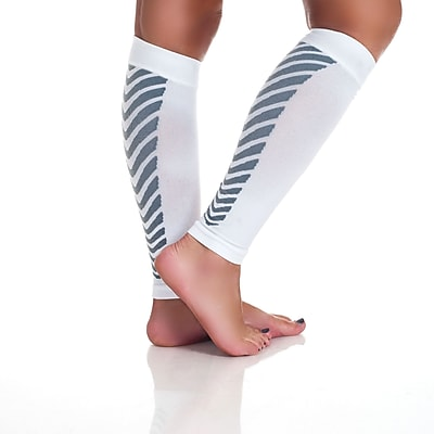 Trademark Remedy™ Calf Compression Running Sleeve Socks, White, Large