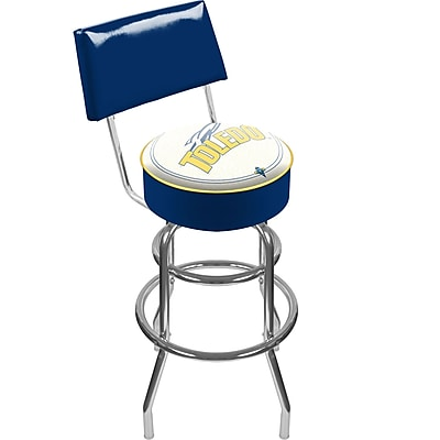 Trademark NCAA® 41.75'' Modern Swiveling Base Padded Bar Stool, Chrome (886511123229)