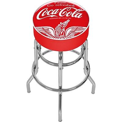 Trademark 30'' Novelty Swiveling Base Padded Bar Stool, White/Red (844296082476)