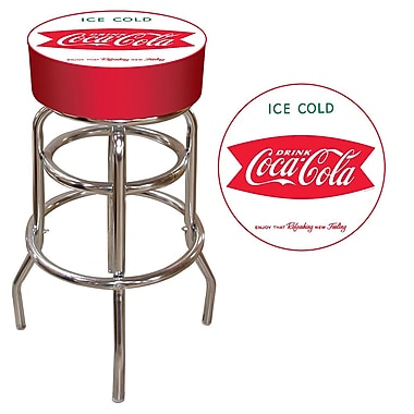 Trademark 30'' Novelty Swiveling Base Padded Bar Stool, White/Red (844296060153)