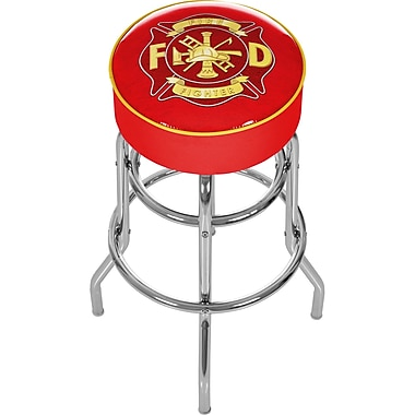 Trademark 30'' Novelty Swiveling Base Padded Bar Stool, Yellow/Red (886511378872)