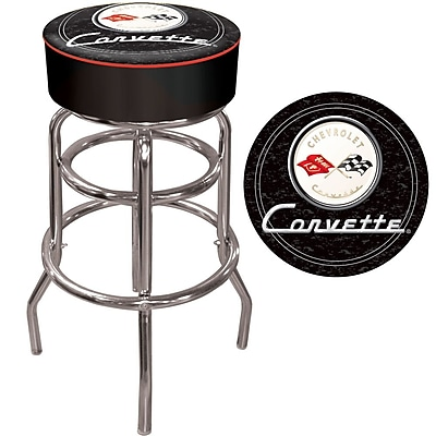 Trademark 30'' Novelty Swiveling Base Padded Bar Stool, White/Black (844296069804)