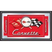 """Trademark CORVETTE 15"""" x 26"""" x 3/4"""" Wooden Framed Mirror, Red, Corvette C1"""