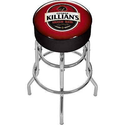 Trademark 30'' Novelty Swiveling Base Padded Bar Stool, Black/Red (844296009053)