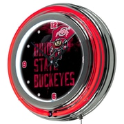 "Trademark 14"" Double Ring Neon Clock, Ohio State Smoking Brutus"
