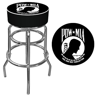 Trademark 30'' Novelty Swiveling Base Padded Bar Stool, Black/White (886511379411)