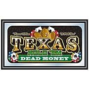 """Trademark 15"""" x 26"""" x 3/4"""" Wooden Framed Mirror, Texas Holdem Dead Money"""