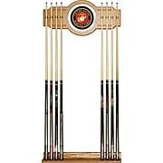 "Trademark 28"" x 13.25"" Billiard Cue Rack With Mirror, United States Marine Corps"