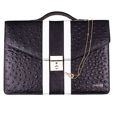 Members Only iPad briefcase, Black ostrich