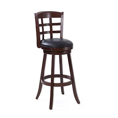 CorLiving - Tabouret de bar en bois cappuccino foncé Woodgrove DWG-191-B de 43 po avec siège en similicuir noir