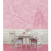 "RoomMates ""Disney Princess Scroll Castle"" Chair Rail Prepasted Wallpaper Mural"