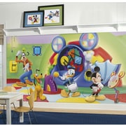 "RoomMates ""Mickey and Friends Clubhouse Capers"" Chair Rail Prepasted Wallpaper Mural"
