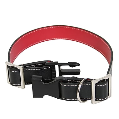 Royce Leather Small-Medium Two-Toned Dog Collar, Black and Red, Silver Foil Stamping, Full Name