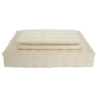 Ambassador Damask Stripe Sheet Set, 300 Thread Count, King, Ivory