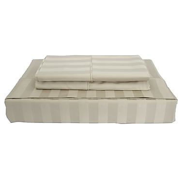 Maholi Bamboo Stripe Sheet Set, 310 Thread Count, King, Taupe
