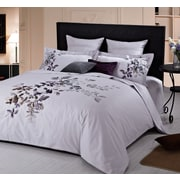 Maholi Indigo Orchids Embroidered Duvet Cover Set, Queen