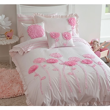 Maholi KIDS Floret Pink Duvet Cover Set, Full/Queen