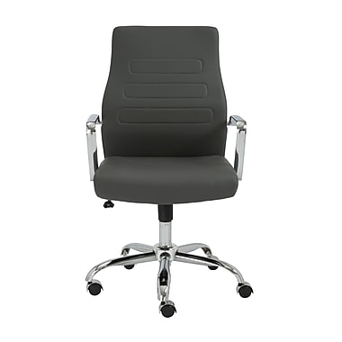 Euro Style Fenella Leather Executive Office Chair, Fixed Arms, Gray (00535GRY)
